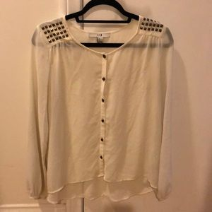 White button up blouse with shoulder detail